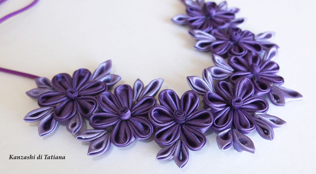 Collana kanzashi fatto a mano colore viola 2