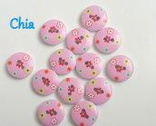 10 bottoni legno rosa con fiorellini 15mm diametro