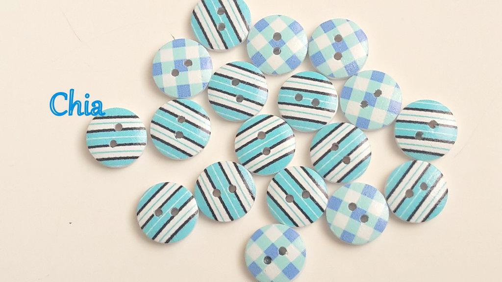 *OFFERTA* 16 bottoni legno azzurri 15mm diametro
