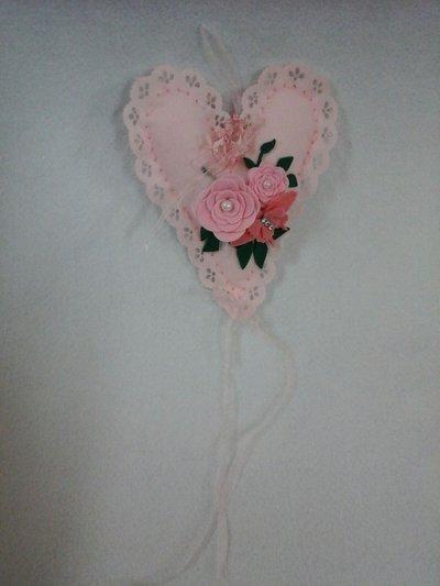 cuore rosa pannolenci