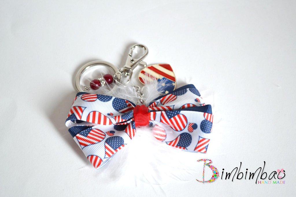 portachiavi donna personalizzato bandiera americana cuori  con fiocco e pendenti