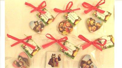 BOMBONIERA CONFEZIONATA con bigliettino personalizzabile- no - fimo - MASHA e ORSO calamita legno - battesimo compleanno