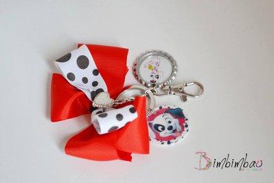 portachiavi donna ragazza personalizzato cane dalmata in metallo con cuore e strass perle
