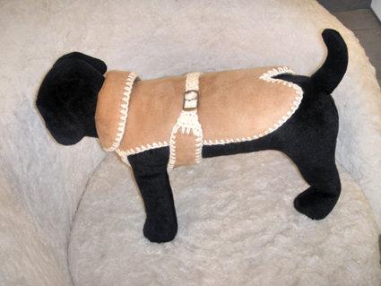 Montone ecologico per chihuahua, cuccioli o cagnolini di piccola taglia con bordo crochet a mano in lana