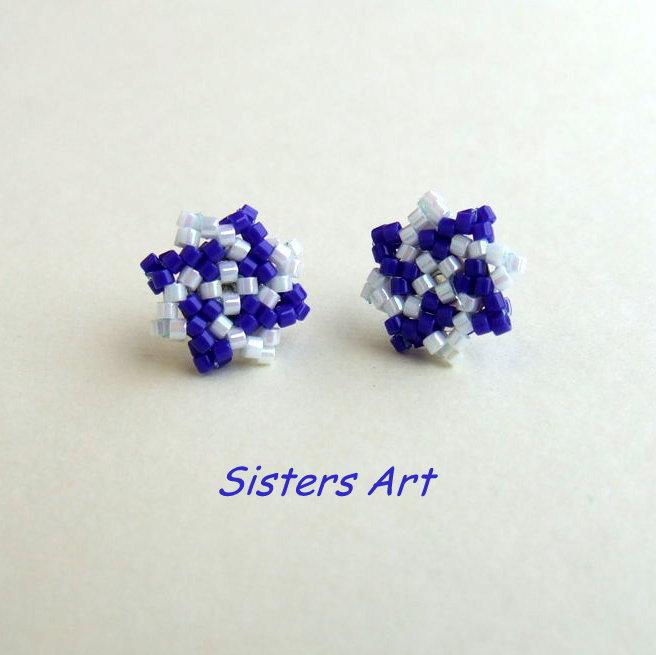 """Orecchini a lobo """"Stella azzurra"""" realizzati con perline Miyuki delica"""