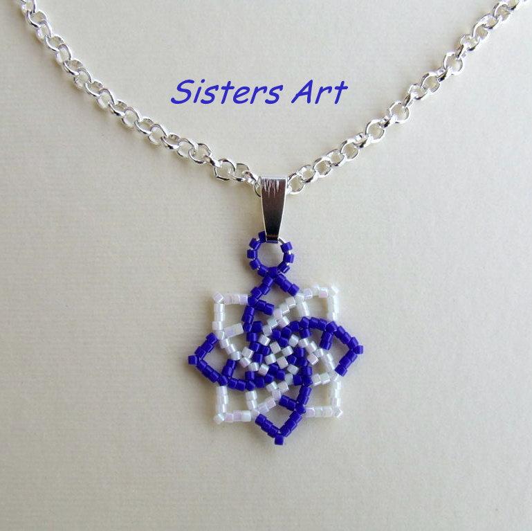 """Collana """"Stella azzurra""""  realizzata con perline Miyuki delica"""