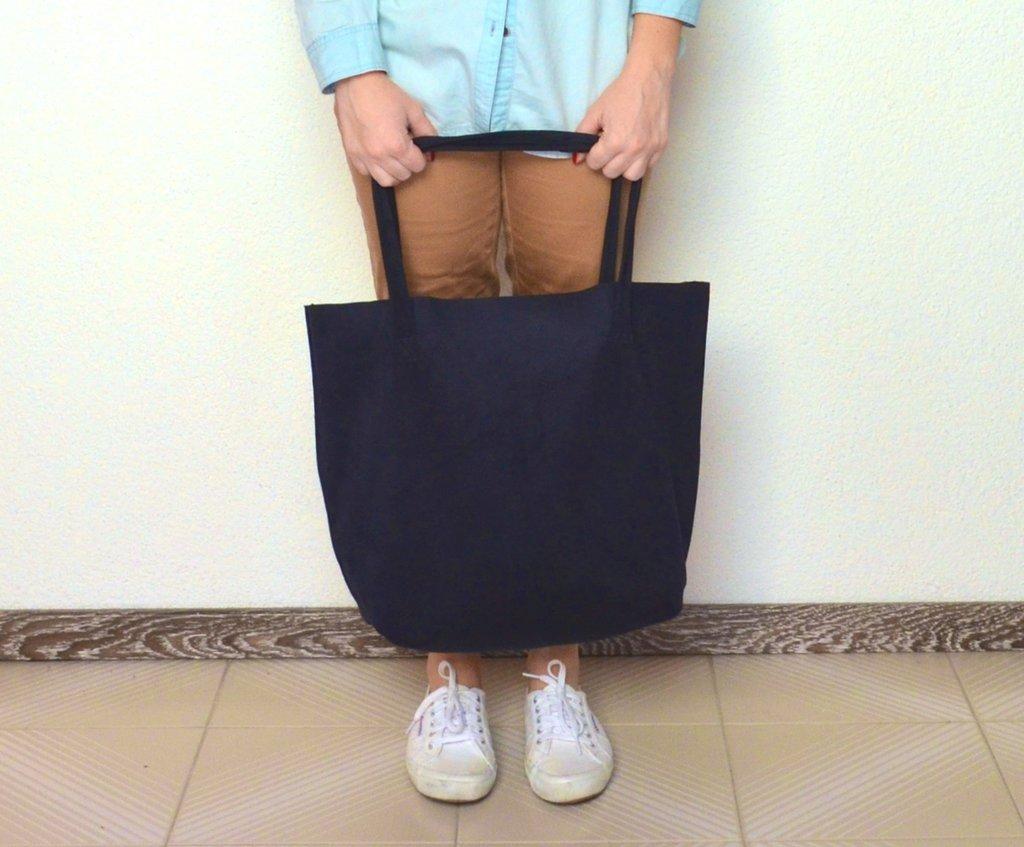 Shopping bag in tessuto scamosciato