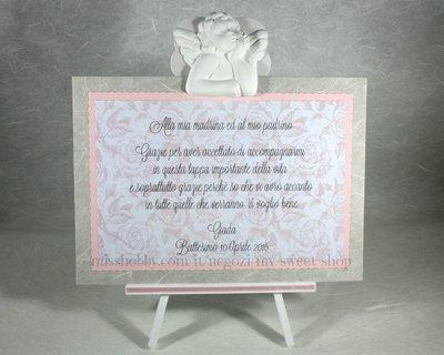 Targhetta con angelo versione rosa - regalo bomboniera madrina padrino Battesimo