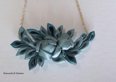 Ciondolo kanzashi fatto a mano colore acqua marina(turchese) su catena