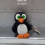 Portachiave pinguino in fimo