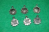 n. 6 charm ciondoli per bracciali collane orecchini sole scritta made with a smile  portafortuna argento tibetano
