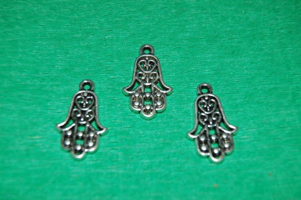 n. 3 charm ciondoli per bracciali collane orecchini mano di fatima portafortuna argento tibetano