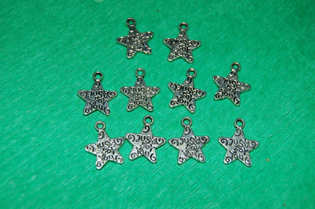 n. 10 charm ciondoli per bracciali collane orecchini  portafortuna Stella Just for you   argento tibetano