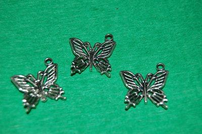 n. 3 charm ciondoli per bracciali collane orecchini farfalla portafortuna argento tibetano