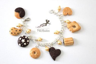 Bracciale con biscotti pan di stelle batticuori gocciole macine nascondini mulino bianco fimo-Gioielli Fimo-