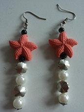 orecchini stella marina rosa corallo e perle