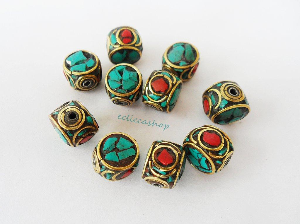 Perline etniche a intarsio in ottone corallo turchese 1PZ