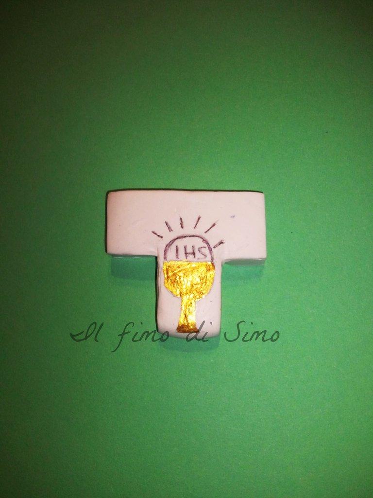 bomboniera comunione croce in fimo