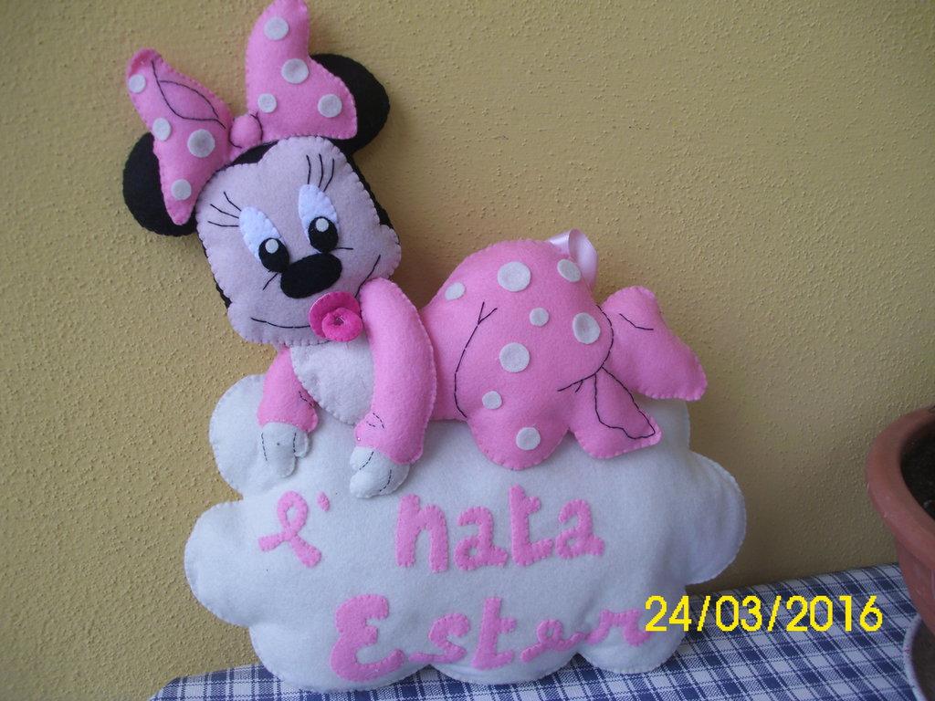 Fiocco nascita Minnie in pannolenci
