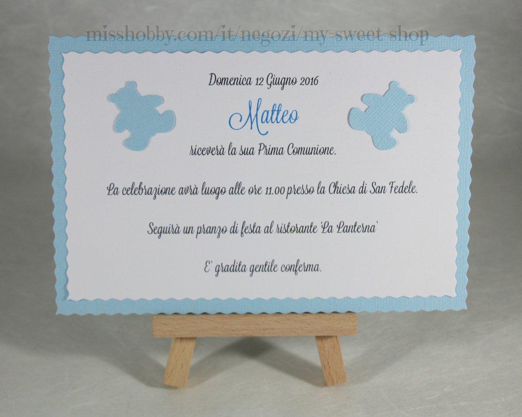 Preferenza Invito Prima Comunione o Battesimo con orsetti - Feste - Biglietti  KB59