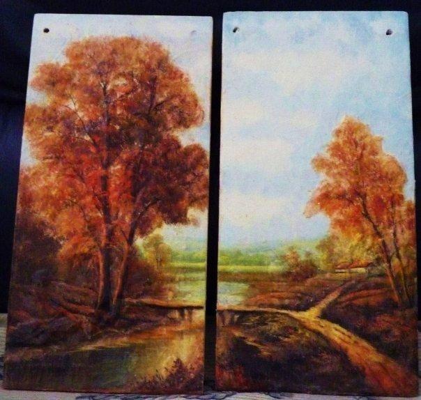 paesaggio su coppia di tegole