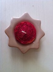 portacandela stella in ceramica