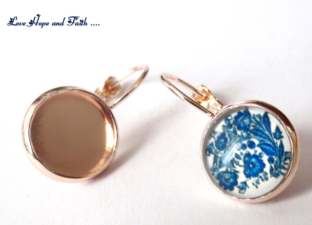 1 PAIO Base orecchini porta cabochon color oro rosato (26X13mm) (Ecod.1256)