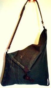 Borsa Tracolla Messenger in canvas nero Shibori