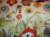 copriforno country in stoffa di  cotone disegnato