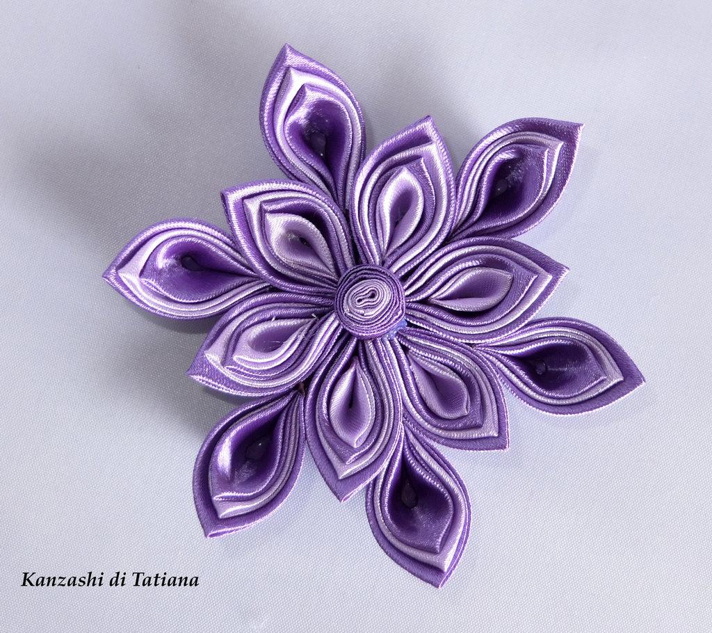 Fiore  kanzashi per capelli colore viola e lilla