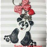 Portachiavi panda in fimo