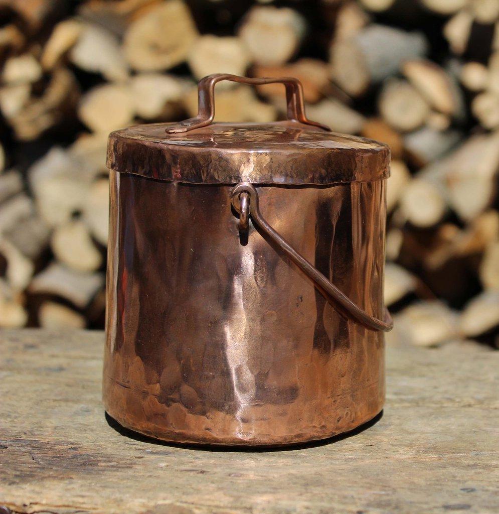 Barattolo recipiente vasetto contenitore in rame lavorato a mano