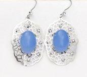 Orecchini con pietra di vetro opaca azzurro-blu e cristalli idea regalo per lei!