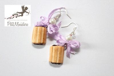 Orecchini Biscotto l nascondini-Gioielli Fimo-Orecchini Pendenti Biscotto-Collezione Biscotto-Colazione Italiana-Monachella argento 925