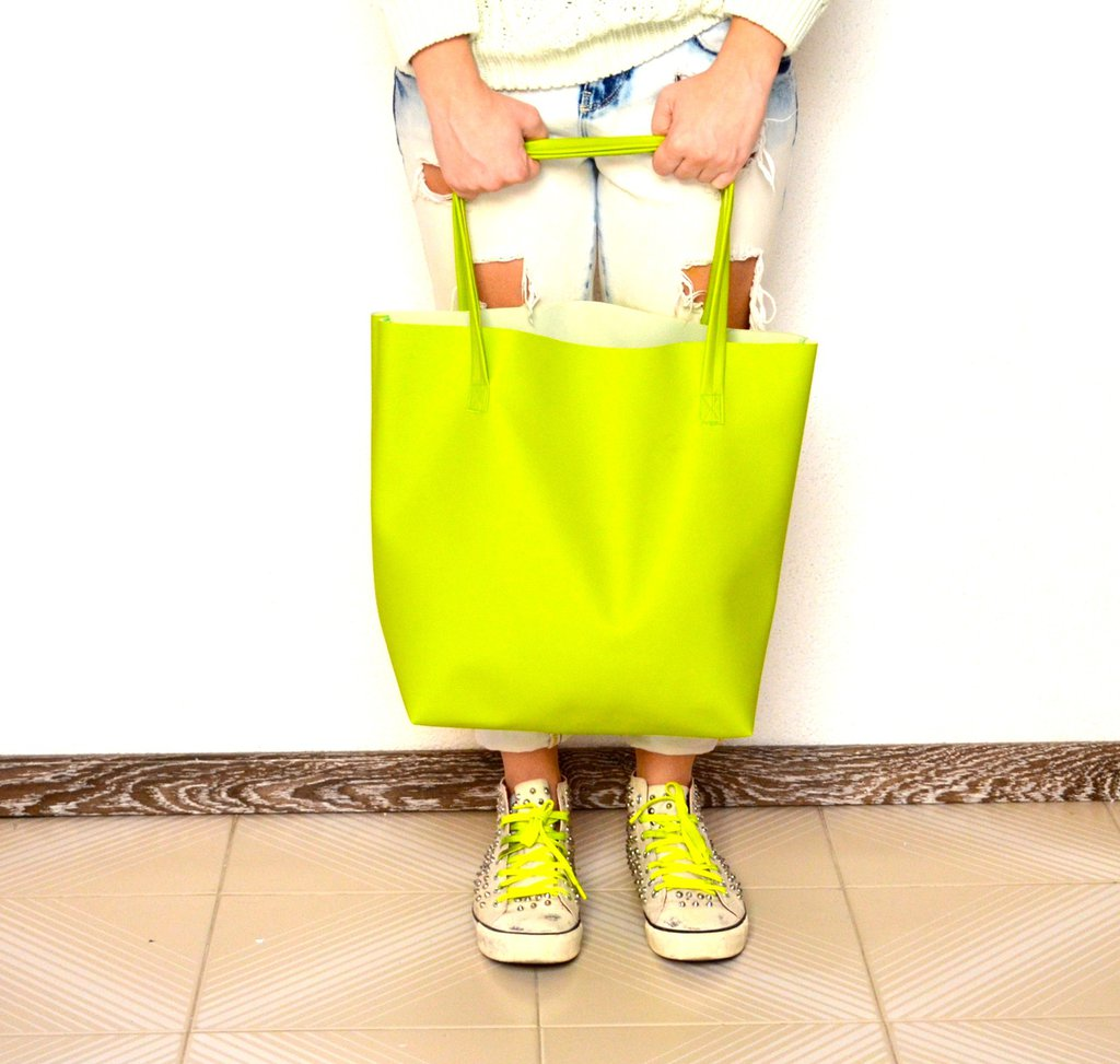 Maxi shopper in ecopelle verde