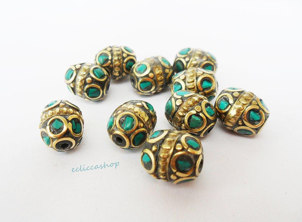Perline etniche ovali a intarsio in ottone e turchese 1PZ