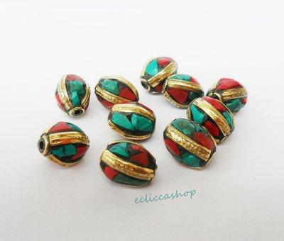 Perline etniche ovali a intarsio in ottone corallo e turchese 1PZ