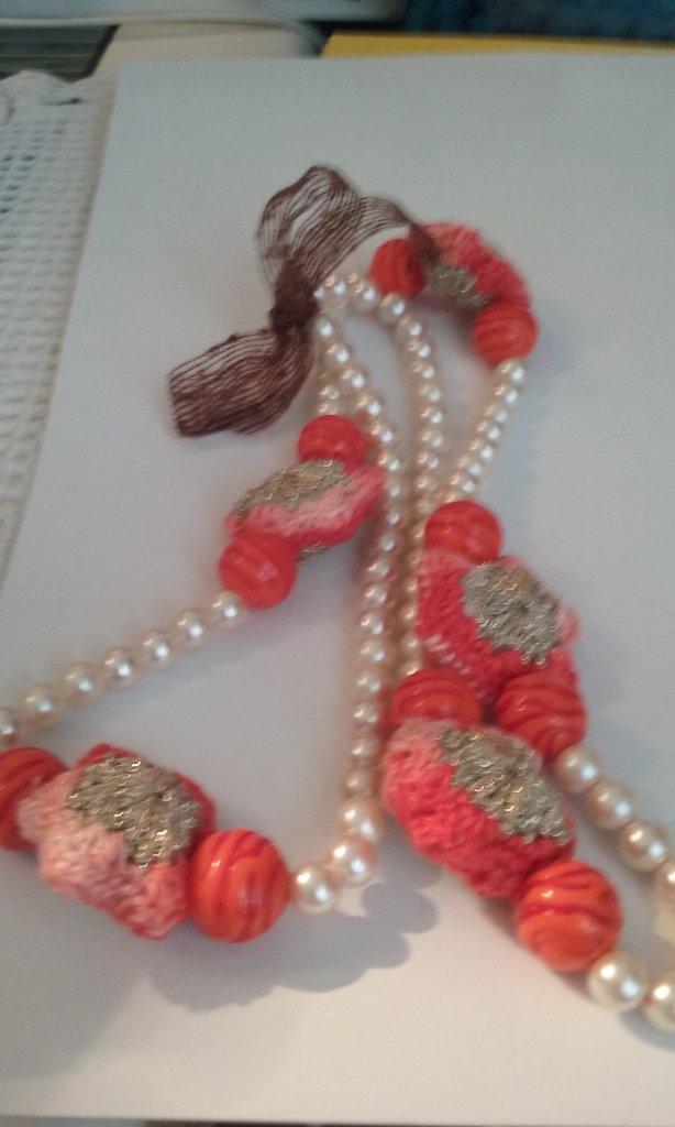Collana perle e perle crochet