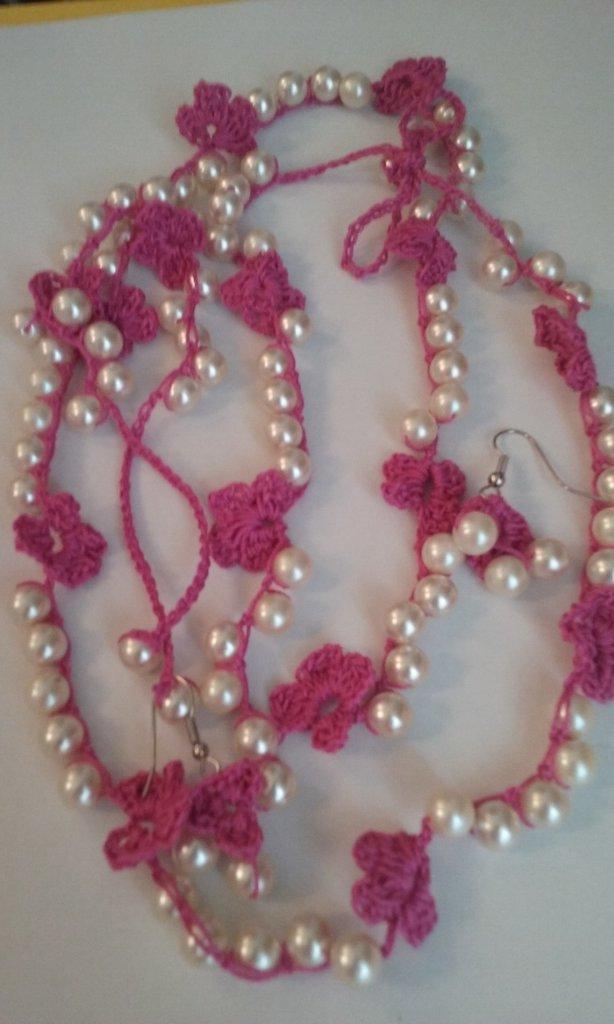 Completo collana bracciale orecchini crochet