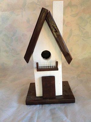 casetta per uccelli in legno - BIANCA -