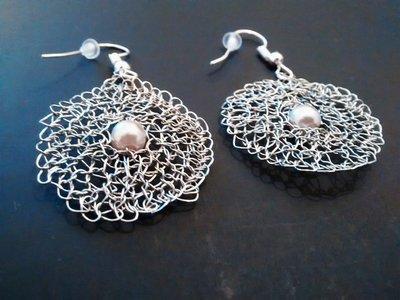 Orecchini pendenti crochet wire argento