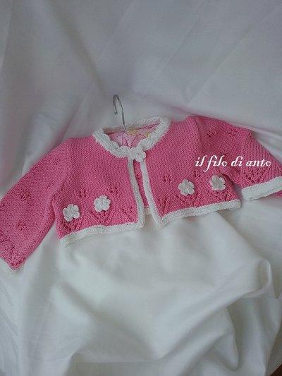 Maglietta coprispalle / bolerino /scaldacuore fucsia con dolci fiori