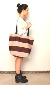 Maxi shopper a righe beige e marrone