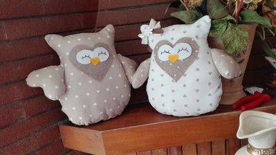 coppia cuscini gufetti innamorati