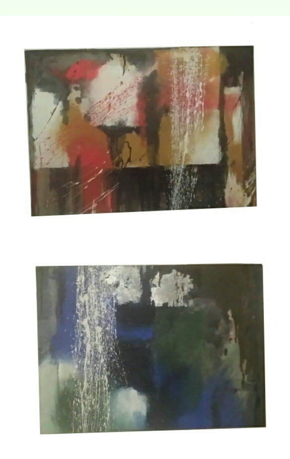 "Coppia di quadri ""i gemelli"",stile informale,tecnica mista"