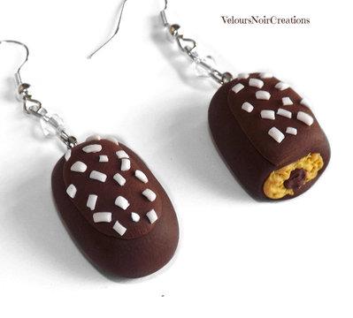 Orecchini merendina  buondì motta al cioccolato  in fimo