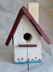 casetta per uccelli in legno - PAPAVERO -