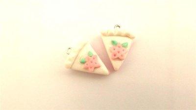 UN CIONDOLO - fetta di tortaglassa bianca   e STELLINA- fimo  per orecchini - braccialetti - collane - charms