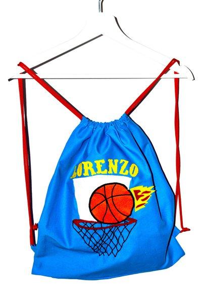 Zainetto in cotone con canestro da basket
