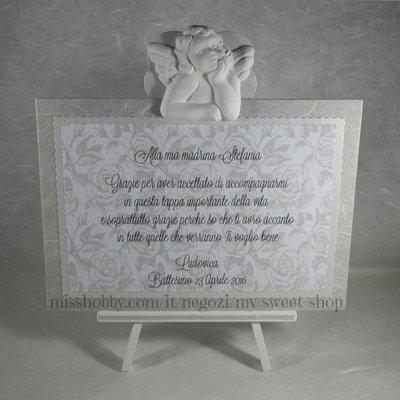 Targhetta con angelo versione tortora - regalo bomboniera madrina padrino Battesimo